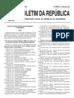 Lista das Normas Mocmbicanas  sectoriais aprovadas por Comissoes de Normalizacao