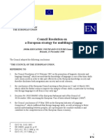 Council Resolution on a European Strategy for Multilingualism