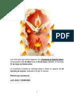ORACIÓNES DIARIAS AL ESPÍRITU SANTO