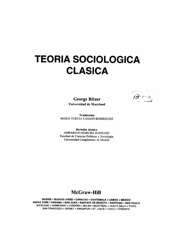 Teoria Sociologica Clasica George Ritzer
