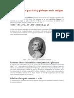 Conflicto entre patricios y plebeyos en la antigua Roma