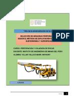 Máquinas perforadoras a utilizas según el método de minado.