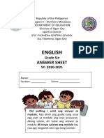 Activity Sheet in english