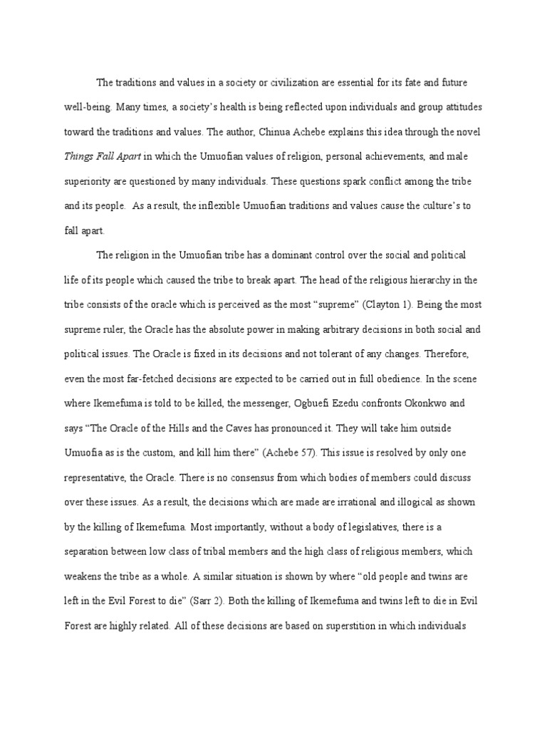 fall apart essay things fall apart essays studentshare