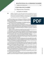 Boletín Oficial Comunidad de Madrid menos de 100.000