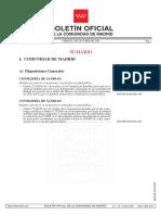 Boletín en el que se publican las restricciones de Madrid