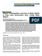 Effects of Metropolitan Land Use on Water Quality in Zing Local Government Area, Taraba State, Nigeria.