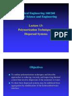 Polymer Plymerisation-Dispersation