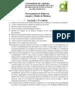 TALLER 1. 2do PROCESAMIENTO DE POLIMEROS