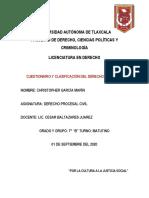 CUESTIONARIO Y CLASIFICACIÓN DEL DERECHO PROCESAL