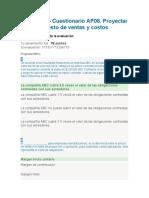 AP08 EV02 Cuestionario Proyectar el presupuesto de ventas y costos