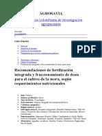 Mora Fertilizacion AGROSAVIA Colombia