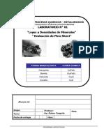 Taller 2019 - Composición porcentual  mineralogica