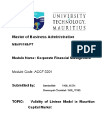 Assignment- VALIDITY OF THE LINTNER MODEL ON MAURITIAN CAPITAL MARKET.pdf