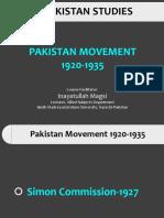 4. Pakistan Movement 1921-1935