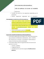 1 PROCEDIMIENTO PARA RECTIFICACION DE MATRICULA