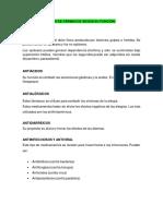 TIPOS DE FÁRMACOS SEGÚN SU FUNCIÓN