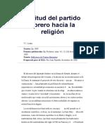 V. Lenin. Actitud del partido obrero hacia la religión.
