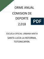 INFORME ANUAL 2018 DEPORTE