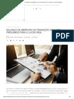 Balanço de abertura na transição do Lucro Presumido para o Lucro Real – Portal de Auditoria