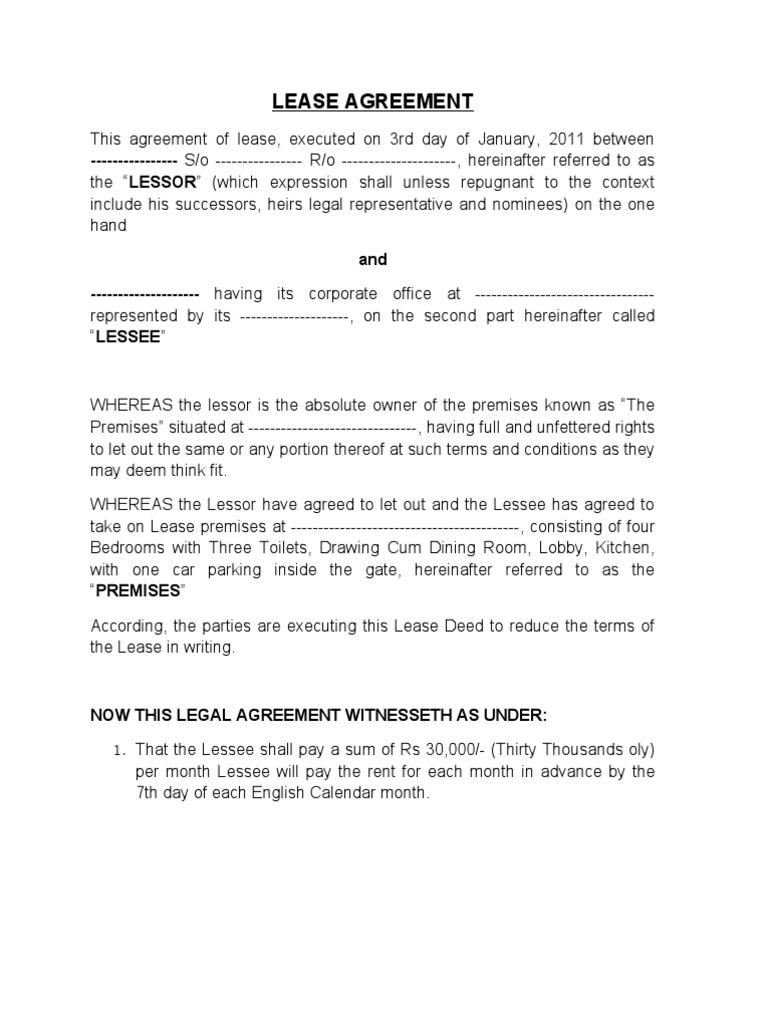 Lease Agreement Lease Government