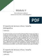 Módulo II - Textos informativos académicos - reporte de lectura