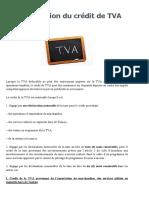 La restitution du crédit de TVA