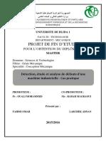 Détection, étude et analyse de défauts d'une machineindustrielle - cas pratique
