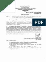 Reimbursement of Quarantine charges-DFFT