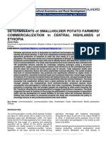Determinants of Smallholder Potato Farmers' Commercialization in Central Highlands of Ethiopia