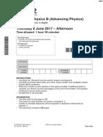 June 2017 QP - Paper 2 OCR (B) Physics AS-Level