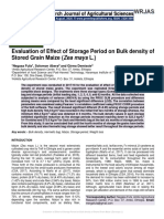 """Evaluation of Effect of Storage Period on Bulk density of Stored Grain Maize (Zea mays L.)"""""""