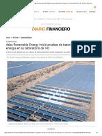 Atlas Renewable Energy inició pruebas de baterías para almacenar energía en su laboratorio de I+D - Diario Financiero