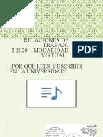 1-Presentación materia 2 2020 Cátedra RRTT FSOC UBA