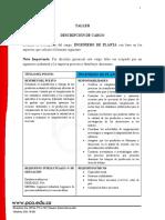 Descricpción de cargo ING DE PLANTA