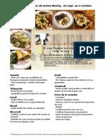 Menus de La Cuisine de Meme Moniq Du 26 Septembre Au 2 Octobre