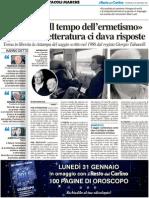 """""""Carlo Bo e il tempo dell'Ermetismo"""" - Il Resto del Carlino del 30 gennaio 2011"""