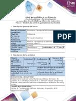 Guía de actividades y rúbrica de evaluación - Paso 3 - Análisis de políticas y programas nacionales.docx