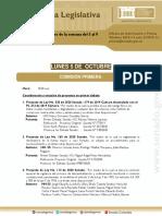 Agenda Legislativa de La Semana Del 5 Al 9 de Octubre de 2020