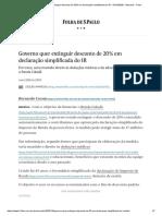 Governo quer extinguir desconto de 20% em declaração simplificada do IR - 04_10_2020 - Mercado - Folha
