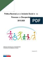 Politica Nacional para la Inclusion Social de las Personas con Discapacidad