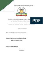 Actividad de aprendizaje 1 - Informe del rol de la ética en la sociedad contemporánea