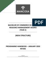 BCom HRM Year 2 PH January 2020