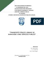 Transporte Público Urbano De Maracaibo Como Servicio Publico