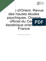 L'Étoile d'Orient. Revue des hautes études psychiques. Organe officiel du Centre ésotérique oriental de France - Année 1 N°2