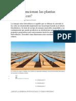 Cómo funcionan las plantas fotovoltaicas