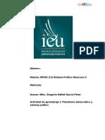 Actividad de aprendizaje 2. Pluralismo democrático y sistema político