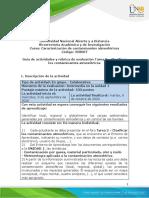 Guia de actividades y Rubrica de evaluacion - Unidad 1- Tarea 2 - Clasificar los contaminantes atmosféricos