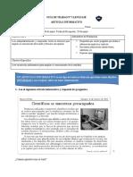 Guía N°3 lenguaje 3°, artículo informativo