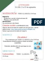ACTIDADES JARDIN SEMANA DEL 21 AL 25 DE SEPTIEMBRE